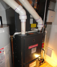 This is a Goodman high efficiency gas furnace with AC installed in Fort Lee, Hudson County, NJ.