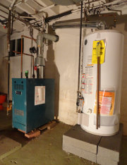 Hot water heaters and furnaces should be elevated in flood prone areas of New Jersey such as in Bound Brook.