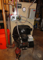 This is a Peerless Oil Boiler with a Beckett oil burner. We are NATE certified on oil furnace installation and service.